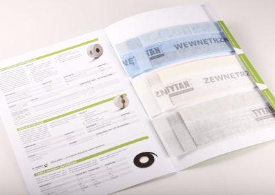 Katalog prezentujący właściwości taśm okiennych przygotowany dla marki Tytan
